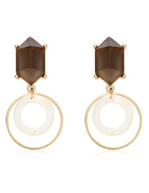 Fashion Gold Acrylic Ring Prismatic Resin Alloy Earrings