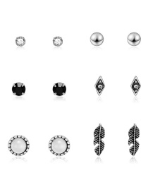 Fashion Silver Diamond-studded Earrings 6 Pairs