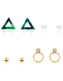 Fashion Gold Resin Triangle With Diamond Stud Earrings 4 Pairs