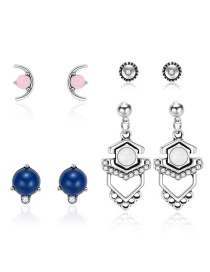 Fashion Silver Moon-studded Geometric Stud Earrings 4 Pairs