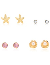 Fashion Gold Starfish Shell Pearl Stud Earrings 4 Pairs