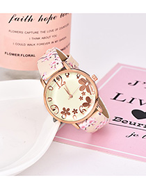 Fashion Light Yellow Alloy Electronic Element Pu Printing Watch