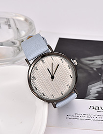 Fashion Light Blue Solid Color Pu Alloy Electronic Watch