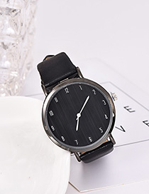 Fashion Black Solid Color Pu Alloy Electronic Watch