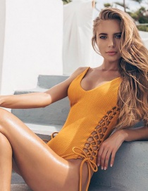 Fashion Yellow One-piece Swimsuit Strap