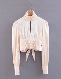 Fashion Apricot Strapless Backless Solid Color Shirt
