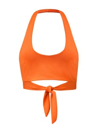 Fashion Orange Red Halter U-neck Short Strap Vest
