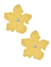 Fashion Yellow Alloy Diamond Flower Earrings