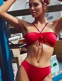 Red Solid Color Swimsuit Strap Swimsuit