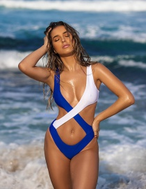 Blue And White Chest Cross Solid Color Stitching Straps One-piece Swimsuit Bikini