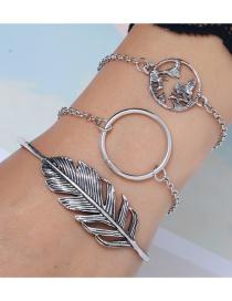 Fashion Silver 3 Piece Set Leaf Big Circle World Map Bracelet Set