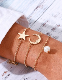 Fashion Gold Moon Star Pearl Pendant 3 Piece Bracelet