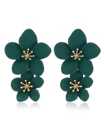 Fashion Green Alloy Floral Multicolor Earrings