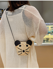 Fashion Cream Color Cat Stitching Straw Bag Shoulder Messenger Bag
