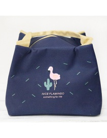 Fashion Dark Blue Flamingo Portable Waterproof Aluminum Foil Thickened Lunch Bag