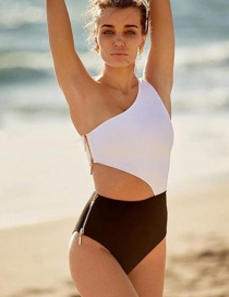 Fashion White Zipper One-shoulder One-piece Swimsuit