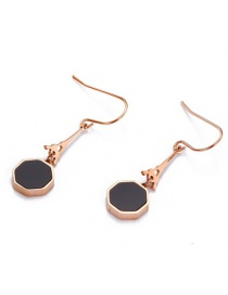 Fashion Rose Gold Geometric Octagonal Resin Stainless Steel Earrings