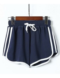 Fashion Navy Striped Stitching Tie A Shorts