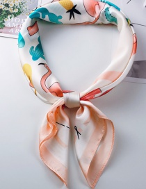 Fashion Light Orange Printed Flamingo Small Scarf