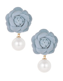 Fashion Blue Fleece Flower Pearl Earrings