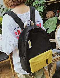 Fashion Black Contrast Canvas Backpack