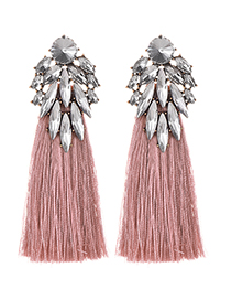 Fashion Leather Pink + White Alloy Diamond Dripping Tassel Earrings