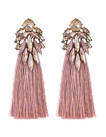 Fashion Leather Pink Alloy Diamond Dripping Tassel Earrings