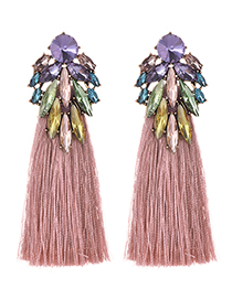 Fashion Color Alloy Diamond Dripping Tassel Earrings