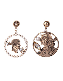 Fashion Bronze Human Face Hollow Embossed Pearl Earrings