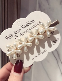 Fashion 4 Flower Duckbill Clip Pearl Flower Long Duckbill Clip