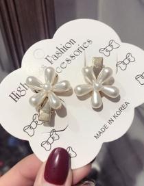 Fashion A Pair Of Flower Duckbill Clips Pearl Flower Long Duckbill Clip