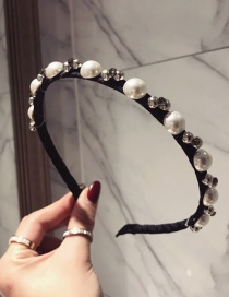 Fashion Black Pearl-studded Winding Woven Fine-brimmed Headband