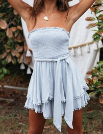 Fashion Blue Cotton And Linen Ruffled Chest Straps Jumpsuit