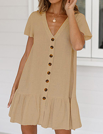 Fashion White Single-breasted Deep V-neck Cotton And Linen Dress