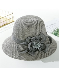 Fashion Gray Flower Big Straw Hat