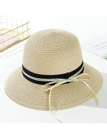 Fashion Beige Streamer Letter Tether Straw Hat