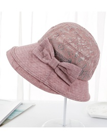 Fashion Leather Powder Lace Bow Hat