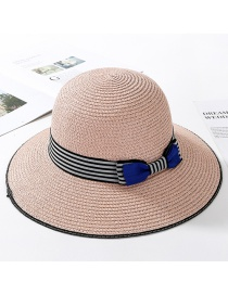Fashion Pink Striped Bow Straw Hat