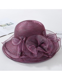 Fashion Rose Purple Big Wavy Side Organza Big Flower Fisherman Hat