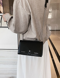 Fashion Black Single Shoulder Slung Small Square Bag