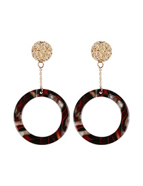 Fashion Black Red And White Alloy Resin Leopard Earrings