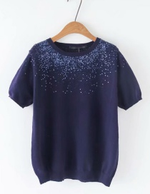 Fashion Blue Sequined Round Neck Pullover Short Sleeve Sweater