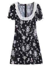 Fashion Black Lace-neck Flower Print Dress