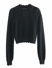 Fashion Black Openwork Round Neck Pullover Shirt
