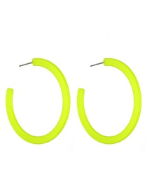 Fashion Fluorescent Yellow Resin C-shaped Earrings