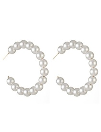 Fashion 15 Pearls Alloy String Pearl C-shaped Earrings