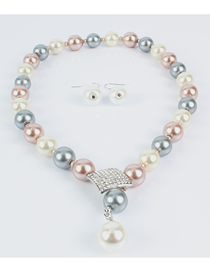 Fashion Color Mixing Irregular Quadrilateral Diamond-studded Glass Pearl Necklace
