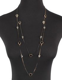 Fashion Gold Crystal Love Double Necklace Long Sweater Chain