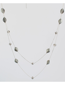 Fashion Gray Crystal Double Layer Necklace