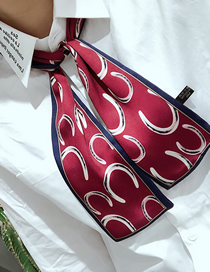 Fashion Horseshoe Wine Red Houndstooth Multifunctional Small Scarf